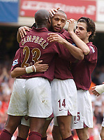 Photo: Daniel Hambury.<br />Arsenal v Wigan Athletic. The Barclays Premiership. 07/05/2006.<br />Arsenal's Thierry Henry celebrates his penalty. 4-2.