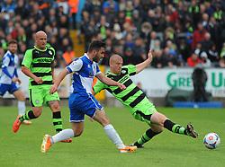 Bristol Rovers' Jake Gosling is blocked by Forest Green Rovers's Charlie Clough - Photo mandatory by-line: Nizaam Jones /JMP - Mobile: 07966 386802 - 03/05/2015 - SPORT - Football - Bristol - Memorial Stadium - Bristol Rovers v Forest Green Rovers - Vanarama Football Conference.