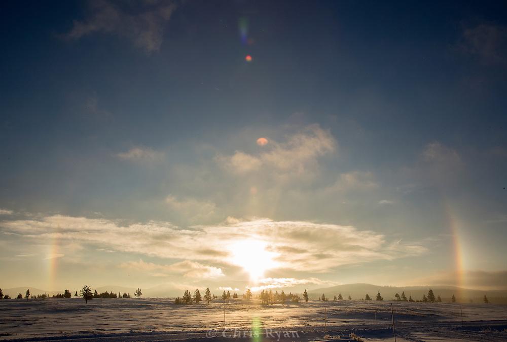 Sundog in winter, Yellowstone National Park