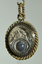The bullet which killed Admiral Lord Nelson at the Battle of Trafalgar, encased in a locket by surgeon William Beatty, which is being displayed in the Nelson & Norfolk exhibition at Norwich Castle Museum & Art Gallery.