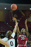 March 18, 2016; Tempe, Ariz;  New Mexico State Aggies forward Brook Salas (5) puts up  shot over Arizona State Sun Devils guard Katie Hempen (0) during a game between No. 2 Arizona State Sun Devils and No. 15 New Mexico State Aggies in the first round of the 2016 NCAA Division I Women's Basketball Championship in Tempe, Ariz. The Sun Devils defeated the Aggies 74-52.