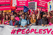 Ssadiq Khan joins young people at the front of the march - The People's Vote March For The Future demanding a Vote on any Brexit deal. The protest assembled on Park Lane and then marched to Parliament Square for speeches.