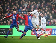 Crystal Palace's Damian Delaney tussles with Chelsea's Diego Costa during the Premier League match at Selhurst Park Stadium, London. Picture date December 17th, 2016 Pic David Klein/Sportimage