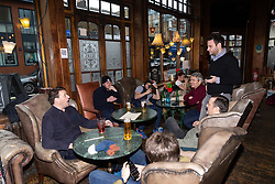 Manchester United fans visiting London for a Man United v Tottenham Hotspur game discuss Brexit with Bild Reporter Philip Fabian in London. London January 13 2019.