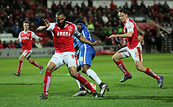 Shaquile Coulthirst of Peterborough United is fouled by Nathan Pond of Fleetwood Town for a penalty - Mandatory by-line: Joe Dent/JMP - Mobile: 07966 386802 - 05/04/2016 - FOOTBALL - Highbury Stadium - Fleetwood, England - Fleetwood Town v Peterborough United - Sky Bet League One