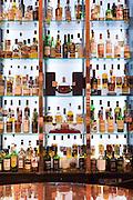 Single malt Scotch whisky - Glenmorangie, Glenlivet, Macalan, Balvenie, Bowmore, Glenkinchie, Laphroig, Glengoyne, Springbank, Dalmore, Famous Grouse, Lagavulin, Ardbeg, Aberlour, etc. - in the Great Scots Bar at The Cameron House Hotel Glasgow, Scotland