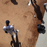 Mariano Rivera, the New York Yankees closer, warming up in the bull pen before pitching during the New York Yankees V Oakland Athletic, American League baseball game at Yankee Stadium. Mariano Rivera is the last Major League player still wearing Jackie Robinson's No. 42. and will retire at the end of the season. Yankee Stadium, The Bronx, New York USA. 4th May 2013. Photo Tim Clayton