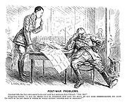 """Post-War Problems. Adjutant (who has been interrupted in his real work by a summons from colonel). """"Yes, sir?"""" Temporary colonel. """"I say - er - Smith - it's so uncertain how long we shall be out here - demobilisation, you know. Er - fact is - do you think it worth my while getting another pair of breeches?"""""""