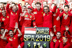 September 1, 2019, Spa-Francorchamps, Belgium: Motorsports: FIA Formula One World Championship 2019, Grand Prix of Belgium, ..Team of Scuderia Ferrari Mission Winnow celebrates first victory of #16 Charles Leclerc (MCO, Scuderia Ferrari Mission Winnow), Mattia Binotto (ITA, Scuderia Ferrari Mission Winnow), Laurent Mekies (FRA, Scuderia Ferrari Mission Winnow) (Credit Image: © Hoch Zwei via ZUMA Wire)
