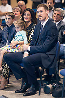 """Andres """"El Chapu"""" Nocioni with his wife and sons during the appearance of retirement as profesional basketball player at Stadium Santiago Bernabeu in Madrid, Spain. April 04, 2017. (ALTERPHOTOS/BorjaB.Hojas)"""