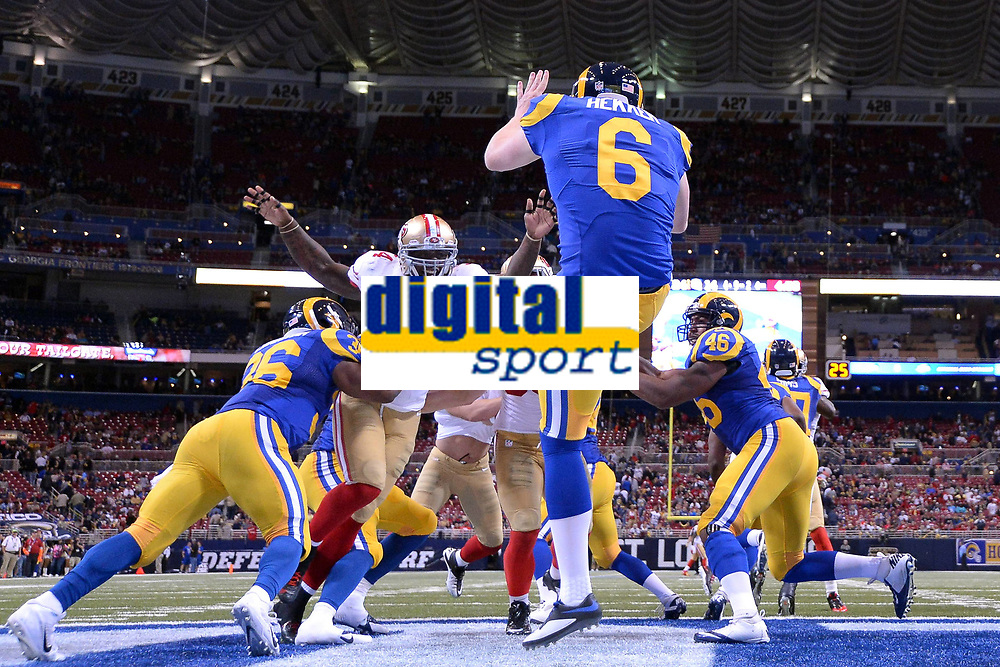 13 October 2014: San Francisco 49ers Linebacker Nick Moody (54) 18755 pressures St. Louis Rams Punter John Hekker (6) 14443 in action during the Monday Night Football game between the St. Louis Rams and the San Francisco 49ers at the Edwards Jones Dome, in St. Louis, MO. NFL American Football Herren USA OCT 13 49ers at Rams PUBLICATIONxINxGERxSUIxAUTxHUNxRUSxSWExNORxONLY Icon10131472949<br /> <br /> 13 October 2014 San Francisco 49ers Linebacker Nick Moody 54  pressures St Louis Rams Punter John Hekkers 6  in Action during The Monday Night Football Game between The St Louis Rams and The San Francisco 49ers AT The Edwards Jones Dome in St Louis Mo NFL American Football men USA OCT 13 49ers AT Rams PUBLICATIONxINxGERxSUIxAUTxHUNxRUSxSWExNORxONLY