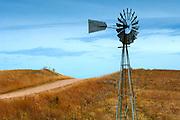 Kansas / Ellsworth County / Windmill / Dirt Road / Smoky Hills Region