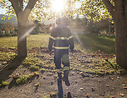 Castelluccio di Norcia. Vigile del fuoco all'interno della zone rossa<br /> 30 ottobre  2016 . Daniele Stefanini /  OneShot