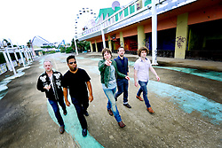 17 October 2013. Abandoned Six Flags, New Orleans, Louisiana. <br /> Terry McDermott and the Bonfires. <br /> L/R;  Dave Rosser, Eric Bolivar, Terry McDermott, Richard Hyland and Alex Smith.<br /> Photo; Charlie Varley