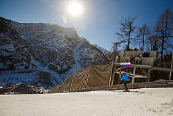Flag holder before the openicn ceremony during the Ski Flying Hill Team Competition at Day 3 of FIS Ski Jumping World Cup Final 2016, on March 19, 2016 in Planica, Slovenia. Photo by Grega Valancic / Sportida