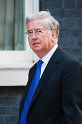 London, July 22nd 2014. Secretary for Defence Michael Fallon arrives at the cabinet meeting at Downing Street.