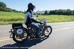 Denis Sharon riding his 1916 Harley-Davidson during the Motorcycle Cannonball Race of the Century. Stage-3 from Morgantown, WV to Chillicothe, OH. USA. Monday September 12, 2016. Photography ©2016 Michael Lichter.