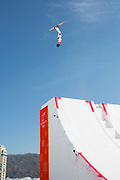 Freestyle Aerial Skiing Practice at the Pyeongchang 2018 Winter Olympics on February 15th 2018, at the Phoenix Snow Park in Pyeongchang-gun, South Korea.
