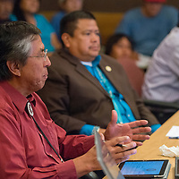 082515       Cable Hoover<br /> <br /> Navajo counsel delegate Leonard Tsosie asks questions of presenters during a meeting at the NAPI headquarters near Farmington Tuesday.