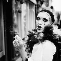 A surprised clown having a smoke. Bold Street, Liverpool.