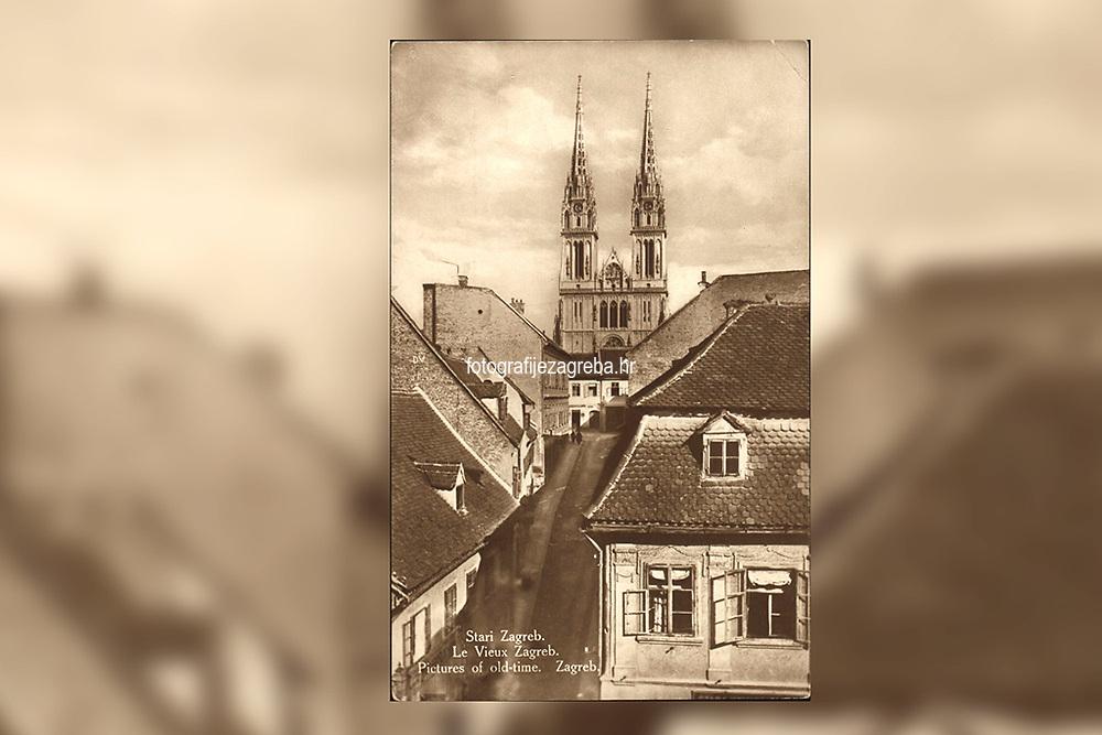 Stari Zagreb = La Vieux Zagreb = Pictures of old-time. Zagreb. <br /> ImpresumZagreb : Naklada S. Marković, [192-?].<br /> Materijalni opis1 razglednica : tisak ; 13,6 x 8,6 cm.<br /> NakladnikNaklada S. Marković<br /> Mjesto izdavanjaZagreb<br /> Vrstavizualna građa • razglednice<br /> ZbirkaGrafička zbirka NSK • Zbirka razglednica<br /> Formatimage/jpeg<br /> PredmetZagreb –– Kaptol<br /> Katedrala Uznesenja Marijina (Zagreb)<br /> SignaturaRZG-KAP-80<br /> Obuhvat(vremenski)20. stoljeće<br /> NapomenaRazglednica nije putovala.<br /> PravaJavno dobro<br /> Identifikatori000955776<br /> NBN.HRNBN: urn:nbn:hr:238:870643 <br /> <br /> Izvor: Digitalne zbirke Nacionalne i sveučilišne knjižnice u Zagrebu