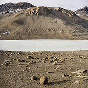 Lake Bonney Landscape. The mountain on far side of the lake is 5740 ft tall, and the lake itself is at 190 ft.