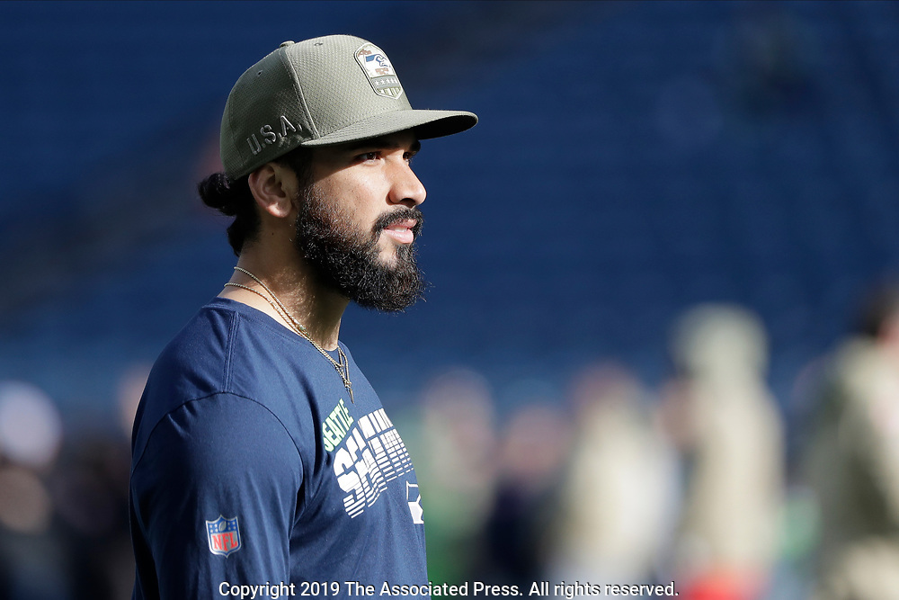 Seattle Seahawks wide receiver John Ursua stands on the field during warmups before an NFL football game before an NFL football game against the Seattle Seahawks, Sunday, Nov. 3, 2019, in Seattle. (AP Photo/John Froschauer)