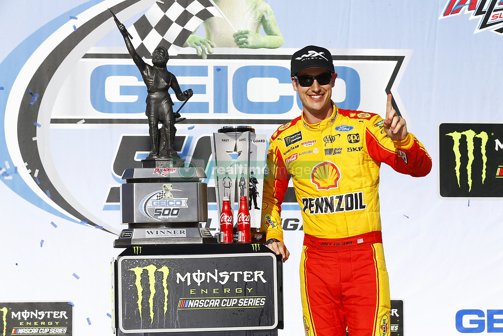 April 29, 2018 - Talladega, Alabama, United States of America - Joey Logano (22) celebrates in victory lane after winning the GEICO 500 at Talladega Superspeedway in Talladega, Alabama. (Credit Image: © Chris Owens Asp Inc/ASP via ZUMA Wire)