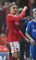 Charlton Athletic's Ahmed Kashi gestures to a fan after receiving abuse at full time