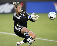 25 August 2007: Finland goalkeeper Tinja-Riikka Korpela makes a save on a first half US shot. The United States Women's National Team defeated the Women's National Team of Finland 4-0 at the Home Depot Center in Carson, California in an International Friendly soccer match.