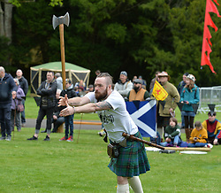 The Scottish axe throwing championships were held at Scone Palace, Perth. The event drew competitors from all over the world, including Ireland, Germany and Canada.<br /> <br /> © Dave Johnston / EEm