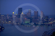 Pittsburgh, PA, Skyline, Three Rivers, Point Park, Golden Triangle, Blue Evening Color