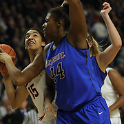 Brandi Harvey-Carr, (right), DePaul, challenges Gabby Williams, (left), UConn, for a rebound during the UConn Vs DePaul, NCAA Women's College basketball game at Webster Bank Arena, Bridgeport, Connecticut, USA. 19th December 2014