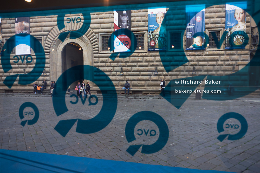 Agnolo de Cosimo Bronzino's exibition posters and QVC Tv channel street promo at Piazza Strozzi..Eleonora di Toledo (1522 - 1562), the daughter of Don Pedro Álvarez de Toledo, the Spanish viceroy of Naples. Her face is still familiar to many because of her solemn and distant portraits by Agnolo Bronzino. She provided the Medici with the Pitti Palace  and seven sons to ensure male succession and four daughters to connect the Medici with noble and ruling houses in Italy. She was a patron of the new Jesuit order, and her private chapel in the Palazzo Vecchio  was decorated by Bronzino, who had originally arrived in Florence to provide festive decor for her wedding. She died, with her sons Giovanni and Garzia, in 1562, when she was only forty; all three of them were struck down by malaria while traveling to Pisa.