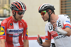 March 1, 2019 - Ajman, United Arab Emirates - (Left-Right) Mikkel Frolich Honore of Denmark and Deceuninck - Quick Step Team and Alexander Kristoff of Norway and UAE Team Emirates, seen at the start line of the sixth Rak Properties Stage of UAE Tour 2019, a 180km with a start from Ajman and finish in Jebel Jais. .On Friday, March 1, 2019, in Ajman, Ajman Emirate, United Arab Emirates. (Credit Image: © Artur Widak/NurPhoto via ZUMA Press)