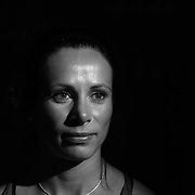 A portrait of Jenn Suhr, USA, Pole Vault, 2012 Olympic Gold Medalist, at the Adidas Grand Prix Press Conference, Hyatt Grand Central, New York ahead of the Adidas Grand Prix at Icahn Stadium, Randall's Island. Manhattan, New York. 24th May 2012. Photo Tim Clayton