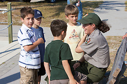 Park Ranger talking With Young Boys
