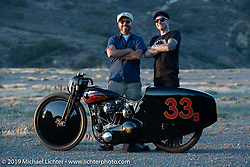 Invited builder Justin Walls' with his Petrali Tribute 1948 Harley UL Harley-Davidson custom and Bobby Green who commissioned the bike after the Born Free chopper show. Silverado, CA. USA. Sunday June 24, 2018. Photography ©2018 Michael Lichter.Bobby Green and invited builder Justin Walls' Petrali Tribute 1948 Harley UL Harley-Davidson custom at the Born Free chopper show. Silverado, CA. USA. Sunday June 24, 2018. Photography ©2018 Michael Lichter.