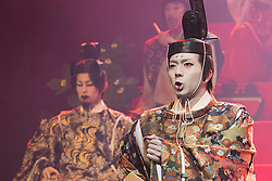 © Licensed to London News Pictures. 21/05/2015. London, UK. L-R: Genki Hori as Lucianus and Kazuaki Takeda as Player King. The Ninagawa Company returns to the Barbican and perform Hamlet by Shakespeare under the direction of Yukio Ninagawa. With Tatsuya Fujiwara as Hamlet. Performances in Japanese with English surtitles from 21 to 24 May 2015. Photo credit : Bettina Strenske/LNP