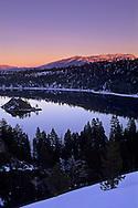 Winter sunset over Emerald Bay, Lake Tahoe, California