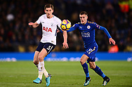 Jan Vertonghen of Tottenham Hotspur in action with Jamie Vardy of Leicester city ® .Premier league match, Leicester City v Tottenham Hotspur at the King Power Stadium in Leicester, Leicestershire on Tuesday 28th November 2017.<br /> pic by Bradley Collyer, Andrew Orchard sports photography.