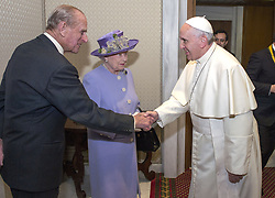 File photo dated 03/04/14 of the Duke of Edinburgh as he shakes hands with Pope Francis while Queen Elizabeth II arrives for a meeting at the Vatican. The Duke of Edinburgh has died, Buckingham Palace has announced. Issue date: Friday April 9, 2020.. See PA story DEATH Philip. Photo credit should read: Arthur Edwards/The Sun/PA Wire