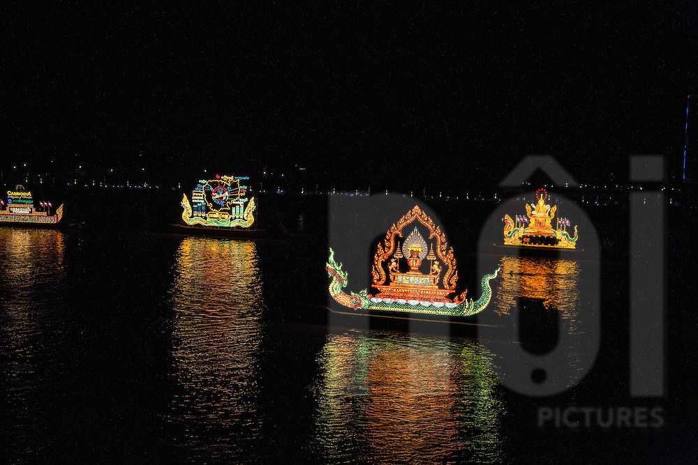 Bandaet Pratip, part of the Water Festival in Phnom Penh during which illuminated boats representing a government ministry or state institution take to the water, Cambodia, Southeast Asia