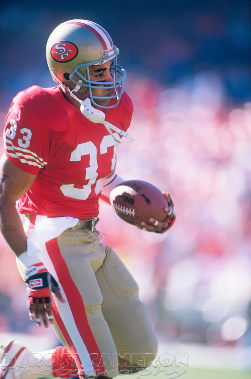San Francisco 49ers running back Roger Craig warms up before his team's NFC championship football game against the New York Giants, Sunday, Jan. 20, 1991 at Candlestick Park in San Francisco. The Giants won, 15-13 and now move on to the Super Bowl against the Buffalo Bills. (Photo by D. Ross Cameron)