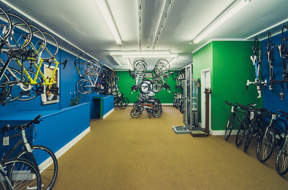Photographs of James Vincent Bicycles store at 8505 Bergenline Ave., North Bergen NJ.