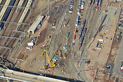 New Haven Rail Yard, Independent Wheel True Facility CONNDOT Project # 0300-0139, New Haven CT.Aerial Photograph of Construction Progress on 22 February 2012.
