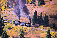 Cumbres & Toltec Scenic Railroad.  This double-locomotive train is going eastbound up Cumbres Pass toward Antonito, Colorado.