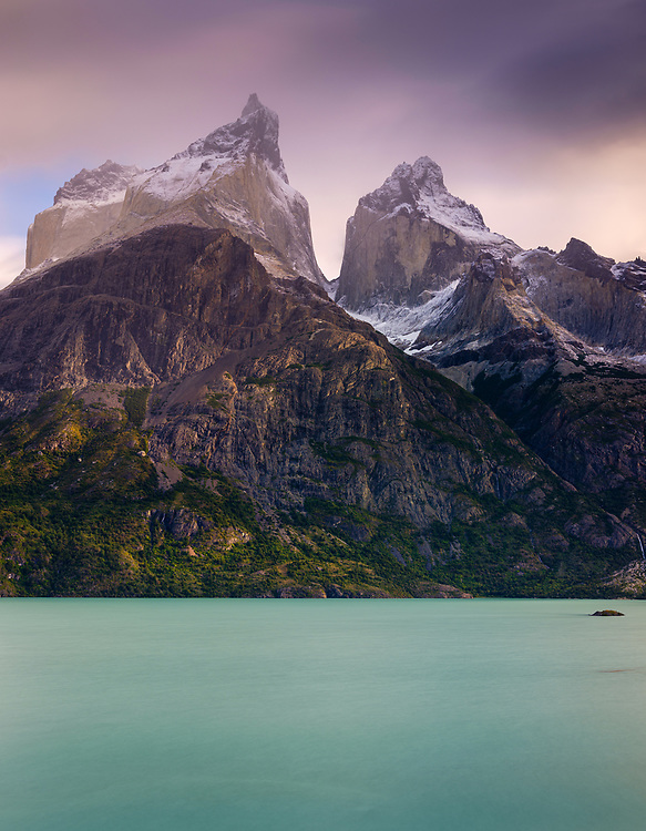 NATIONAL PARK TORRES DEL PAINE, CHILE - CIRCA FEBRUARY 2019: Panoramic view of the Horns peaks and The Horns and Nordenskjöld Lake in Torres del Paine National Park, Chile.