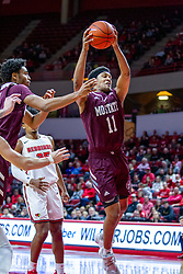 NORMAL, IL - January 07: Isiaih Mosley grabs the defensive rebound during a college basketball game between the ISU Redbirds and the University of Missouri State Bears on January 07 2020 at Redbird Arena in Normal, IL. (Photo by Alan Look)
