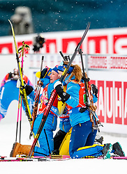 March 16, 2019 - –Stersund, Sweden - 190316 Linn Persson, Mona Brorsson and Anna Magnusson of Sweden celebrates the Hanna Öberg  after the Women's 4x6 km Relay during the IBU World Championships Biathlon on March 16, 2019 in Östersund..Photo: Johan Axelsson / BILDBYRÃ…N / Cop 245 (Credit Image: © Johan Axelsson/Bildbyran via ZUMA Press)